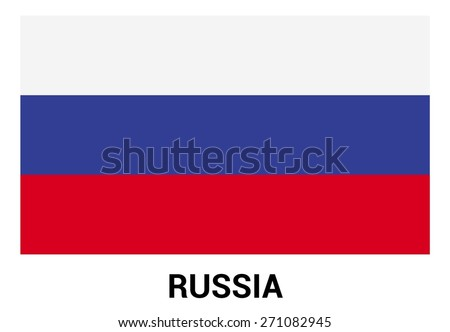 Russia flag isolated vector in official colors and Proportion Correctly. country's name label in bottom - stock vector