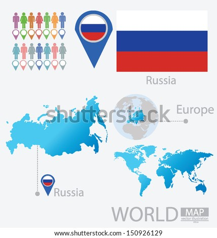 Russia. flag. World Map. vector Illustration. - stock vector