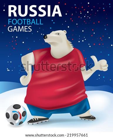 Russia Football Player, Bear Character Soccer Cartoon concept (Vector Art) - stock vector