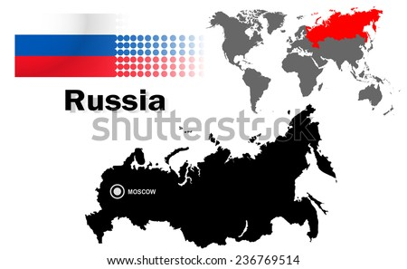 Russia info graphic flag location world stock vector 236769514 russia info graphic with flag location in world map map and the capital sciox Image collections