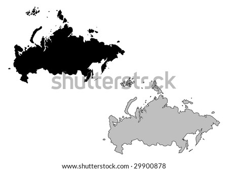 Russia map. Black and white. Mercator projection. - stock vector