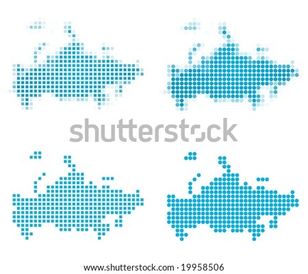 Russia map mosaic set. Isolated on white background. - stock vector