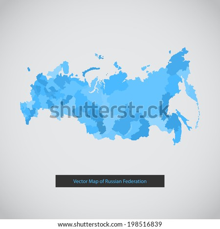 Russia map. Vector background illustration of Russian federation. - stock vector