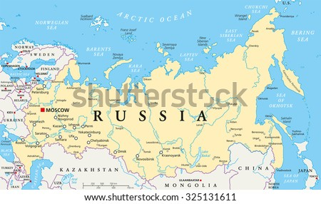 Russia political map with capital Moscow, national borders, important cities, rivers and lakes. English labeling and scaling. Illustration. - stock vector