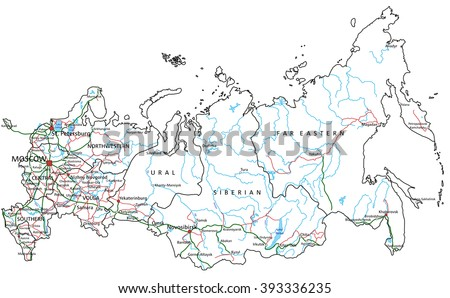 Russia road and highway map. Vector illustration. - stock vector