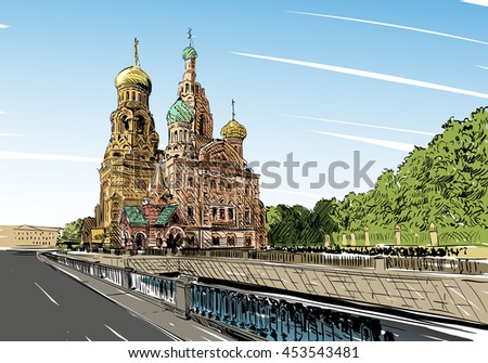 Russia. Saint Petersburg.Savior on Spilled Blood hand drawn sketch. City vector illustration - stock vector