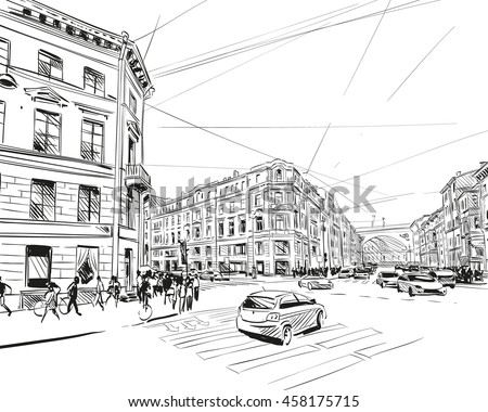 Russia. Saint Petersburg. Unusual perspective hand drawn sketch. City vector illustration