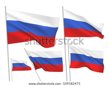Russia vector flags. A set of 5 wavy 3D flags created using gradient meshes. - stock vector
