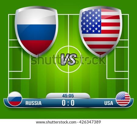 Russia vs USA Soccer Match : Vector Illustration - stock vector