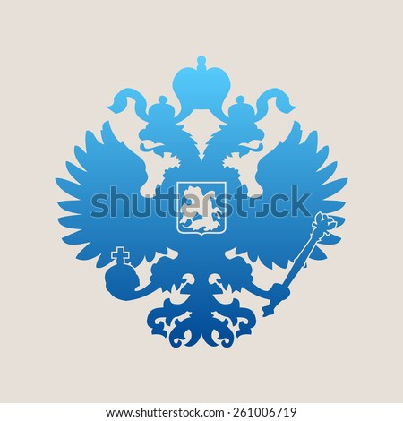 Russian blue coat of arms double-headed eagle emblem. Symbol of empire Russia - stock vector