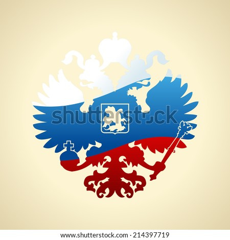 Russian coat of arms double-headed eagle. Symbol of imperial Russia flag isolated - stock vector
