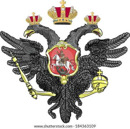 Russian double-headed eagle coat of arms with crowns isolated on white background - stock vector