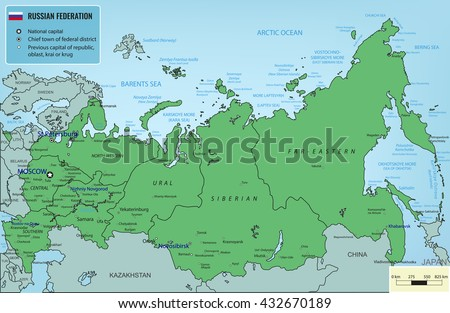 Russian Federation map with selectable territories. Vector illustration - stock vector