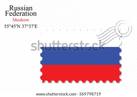 russian federation stamp design over stripy background, abstract vector art illustration, image contains transparency