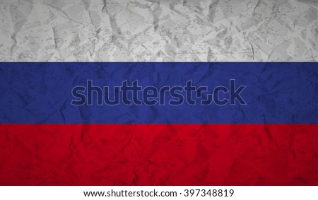 Russian  flag with the effect of crumpled paper and grunge - stock vector