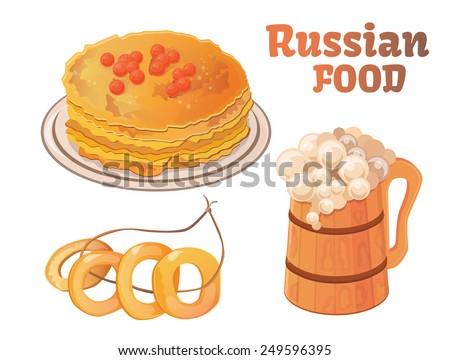 Russian food, pancakes, eggs, beer, brew, drying - stock vector