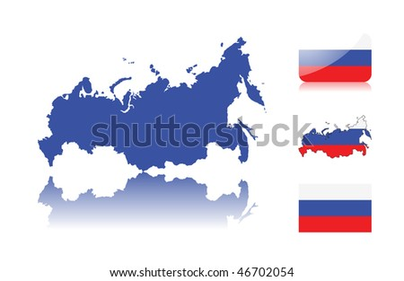 Russian map including: map with reflection, map in flag colors, glossy and normal flag of Russia. - stock vector
