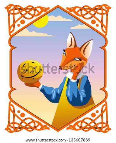 Russian national fairy tale The little Bun, the Fox wants to eat him, vector illustration - stock vector