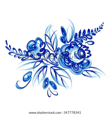 Russian national floral pattern. Gzhel. Vector Illustration.