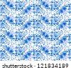 Russian national floral seamless pattern in gzhel style - stock vector