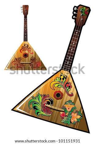 Russian national music instrument - balalaika with flower ornaments, vector illustration - stock vector