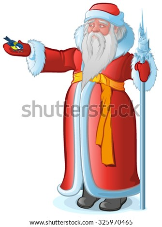 Russian Santa Claus feeds the bird titmouse. Isolated on white vector illustration