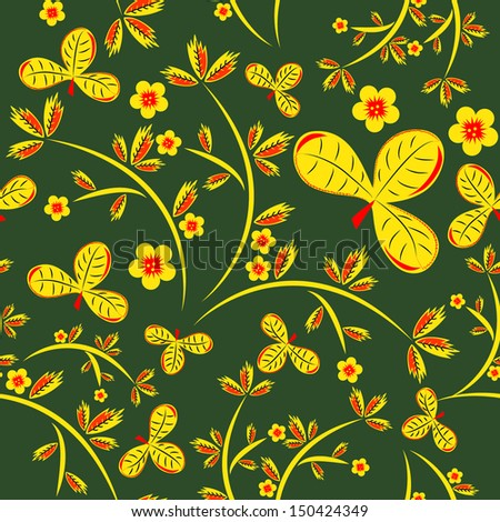 Russian seamless pattern in green, yellow and red colors
