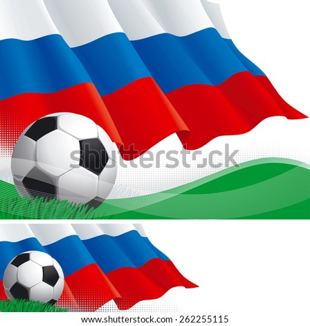 Russian soccer. Vector background and banner of soccer ball and Russian flag on green grass.   - stock vector