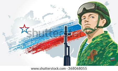 Russian soldier with kalashnikov on the background of the Russian flag, and the geographical contour country Russia.