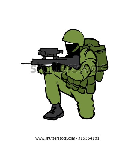 Russian soldier with modern equipment. - stock vector