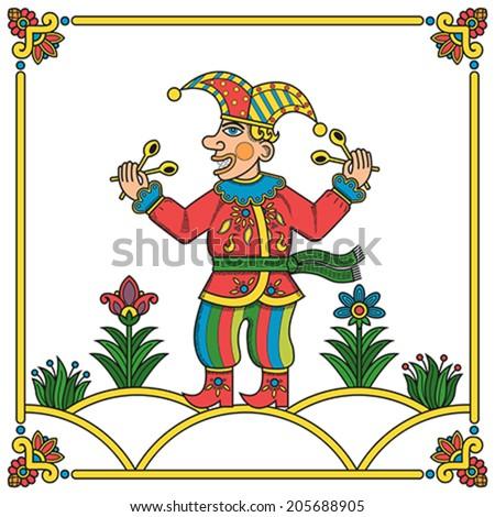 Russian traditional popular print style jester (skomorokh). Vector illustration, easy editable. - stock vector