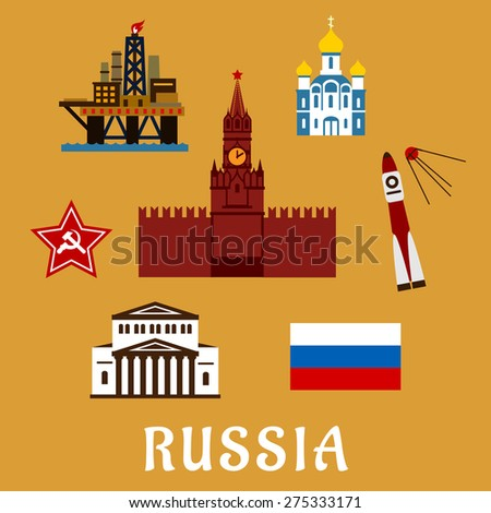 Russian travel icons and symbols with Big Theater, Kremlin,  temple, rocket and satellite, star, oil rig and flag with text  Russia  below - stock vector