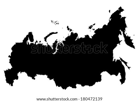 Russian vector map isolated on white background.Russia vector high detailed illustration. - stock vector