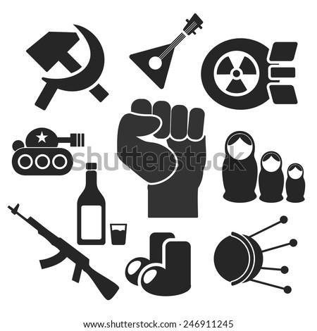 Russian web and mobile logo icons collection isolated on white back. Vector symbols of fist, felt boots, balalaika, satellite, sputnik, tank, hammer and sickle, nuke, vodka, matrioshka, ak - stock vector