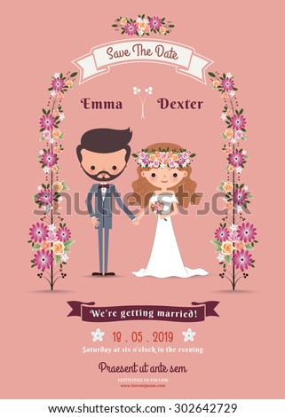 Rustic bohemian cartoon couple wedding card on pink background - stock vector
