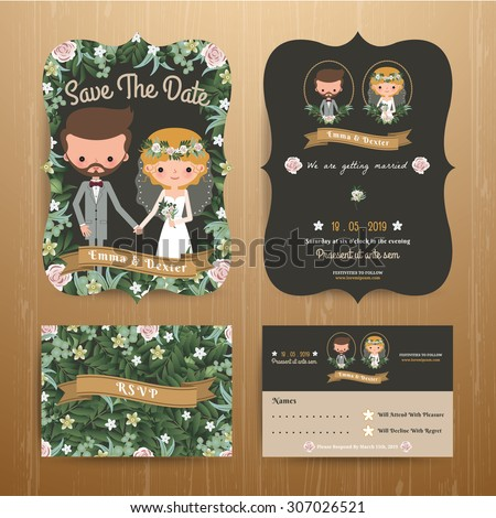 Rustic bohemian cartoon couple wedding card template set on wood background - stock vector