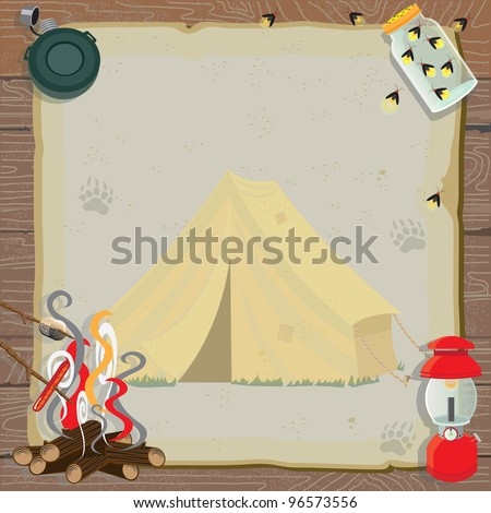 Rustic camping party invitation with an old fashioned tent, lantern, canteen, jar of fireflies and a roaring fire for roasting marshmallows and hotdogs all on old vintage paper - stock vector
