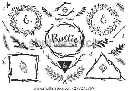 Rustic decorative elements with lettering. Hand drawn vintage vector design set. - stock vector