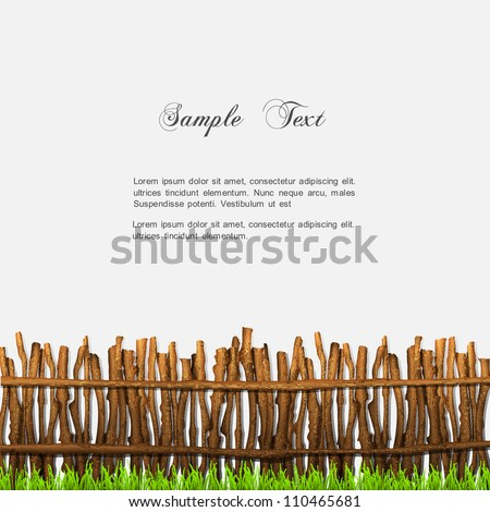 Rustic fence with grass. Vector illustration - stock vector