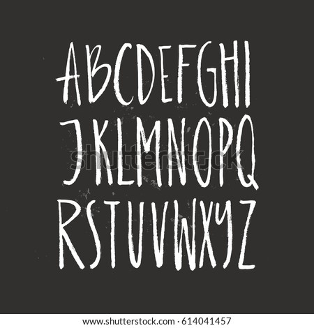rustic font unique handdrawn alphabet latin letters drawn by brush vector abc with