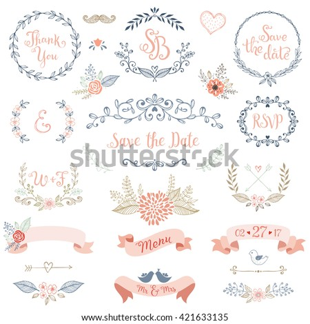 Rustic hand sketched wedding elements set. Floral doodles, branches, flowers, birds, laurels, banners and frames. Good for Save the Date cards, Wedding invitations, Thank You cards and RSVP cards. - stock vector