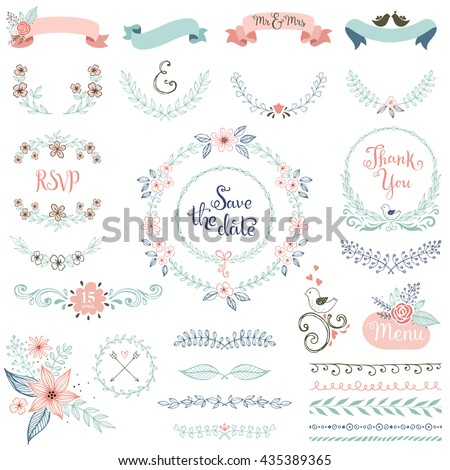 Rustic hand sketched wedding elements set. Floral doodles, leaves, branches, flowers, birds, laurels, banners and frames. Good for Save the Date cards, Wedding invitations and Thank You cards. - stock vector