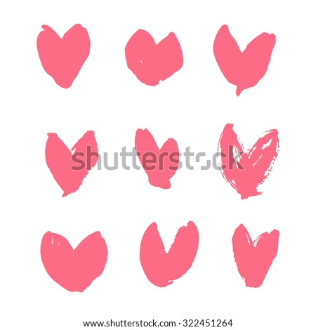 Rustic Hearts Hand Drawn With Ink Grunge Vector Illustration Scrapbook Design Elements