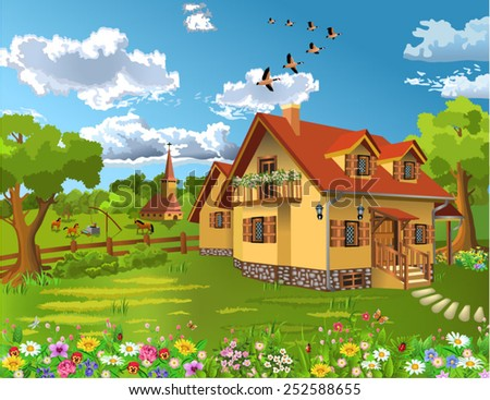 rustic house in a natural landscape - stock vector