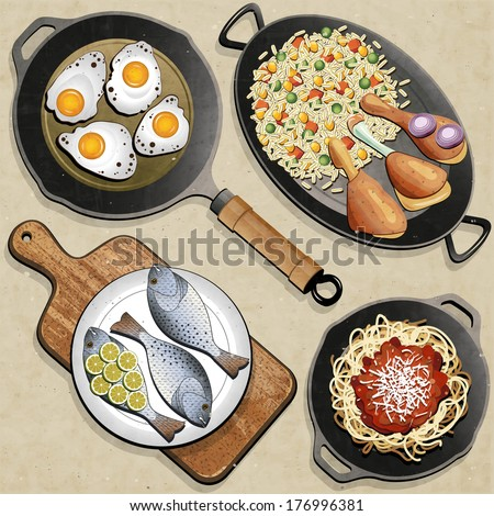 Rustic menu illustration. Retro, vintage style Chicken Thighs, Rice, Fried Eggs, Fish, Spaghetti, Frying Pan and one old Cutting Board realistic illustration. Old fashioned foods poster.  - stock vector