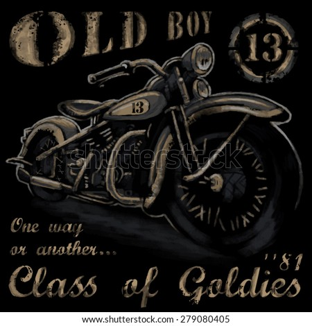 rustic old boy vintage tee shirt graphics - stock vector