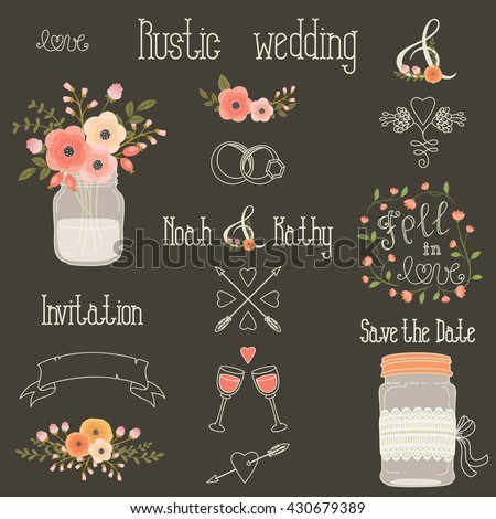 Rustic wedding design elements with pink and peach flowers. Vector set of vintage hand drawn clip art. Mason jars, flowers, lettering, banner, dividers, and more. Eps 10