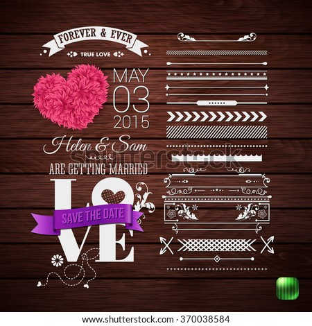 Rustic Wedding Invitation Typography Design Set Of Border Patterns And Symbols Decorative Floral