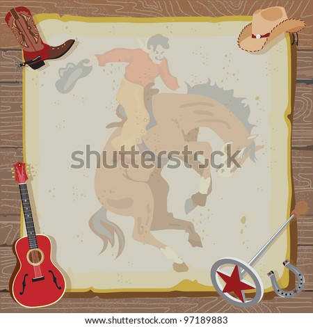Rustic Western Party Invitation with cowboy boot, hat, guitar, branding iron and horseshoe surround vintage paper with a faded bucking bronco, set against a wood background.