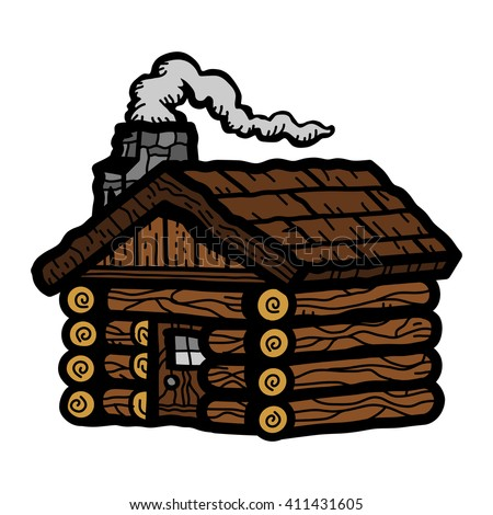 Rustic Wooden Log Cabin in Cartoon Style with Smoking Chimney vector icon